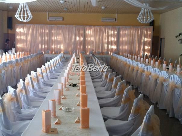 Výzdoba akýchkoľvek spoločenských sál - prenájom návlekov na stoličky, foto 1 Móda, krása a zdravie, Svadby, plesy, oslavy   Tetaberta.sk - bazár, inzercia zadarmo