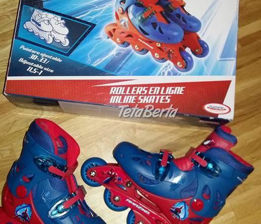 Nepoužité chlapčenské posúvateľné korčule na ľad SPIDERMAN, c.30-33, vnútro 18-21,5cm, farba modro-červené,  teplé,, foto 1 Hobby, voľný čas, Šport a cestovanie | Tetaberta.sk - bazár, inzercia zadarmo