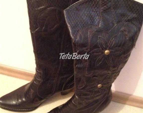 21e454a96e Čierne jemne kovbojské čižmy s hnedými doplnkami
