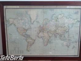 Stará mapa sveta v ráme , Hobby, voľný čas, Umenie a zbierky  | Tetaberta.sk - bazár, inzercia zadarmo