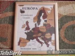 Predám drevený obraz Európy puzzle. , Pre deti, Ostatné    Tetaberta.sk - bazár, inzercia zadarmo