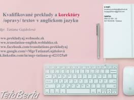 Preklady a opravy textov v anglickom jazyku , Obchod a služby, Preklady, tlmočenie a korektúry  | Tetaberta.sk - bazár, inzercia zadarmo