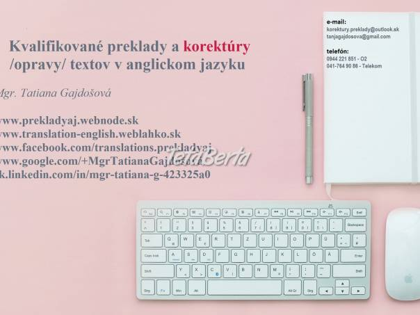 Preklady a opravy textov v anglickom jazyku, foto 1 Obchod a služby, Preklady, tlmočenie a korektúry | Tetaberta.sk - bazár, inzercia zadarmo