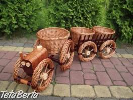 Set prútený stojan na kvety traktor + voz , Dom a záhrada, Zo záhradky    Tetaberta.sk - bazár, inzercia zadarmo