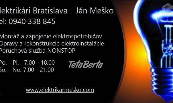 Elektrikár Bratislava – NONSTOP, foto 1 Elektro, Servis a inštalácia | Tetaberta.sk - bazár, inzercia zadarmo
